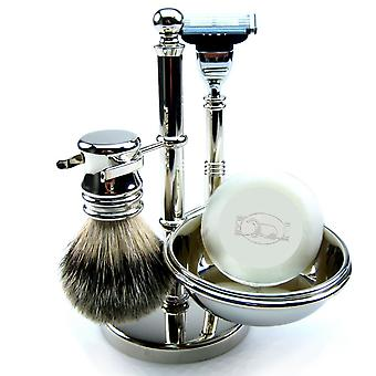 Shaving set 4-piece with genuine badger hair brush, SOAP dish, wet razor Mach3 blade
