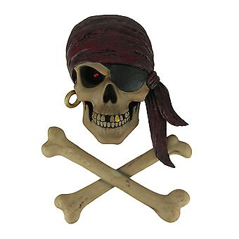 Red Eye Rusty Pirate Skull and Crossbones Wall Decor Set