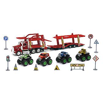 1/43 D/C Kenworth Auto Carrier con Monster Truck Set