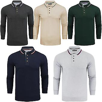 Brave Soul Mens Kennedy Plain Cotton Long Sleeve Regular Fit Polo Shirt Top