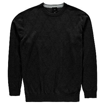 Fusion Mens Textured Crew Neck Jumper Sweater Pullover Long Sleeve Print