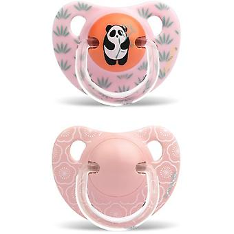 Suavinex Anatomical Pacifier Panda and Flowers 6-18 Months 2 pcs