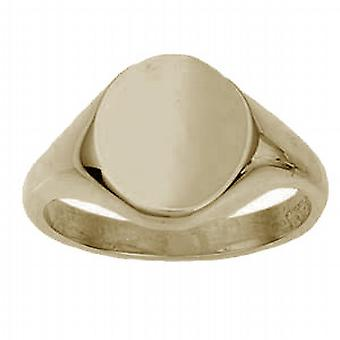 9ct Gold 14x12mm solid plain oval Signet Ring Size W