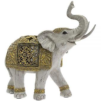 Large Indian Gold Elephant Ornament With Led Decoration 25Cm