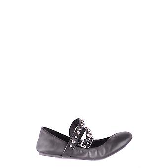 Steve Madden Ezbc077013 Mujeres's Black Leather Flats