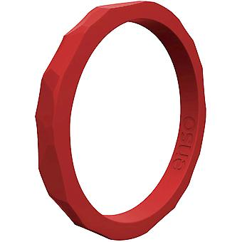 Enso Rings Hammered Stackables Series Silicone Ring - Red