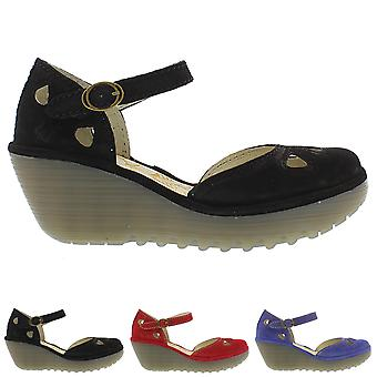 Womens Fly London Yuna Cupido Wedge Heel Closed Toe Ankle Strap Shoes