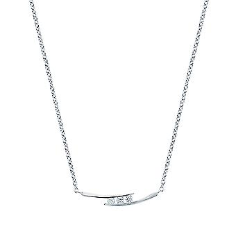 Ah! Jewellery Sterling Silver 3 Stone Clear Crystals From Swarovski Necklace
