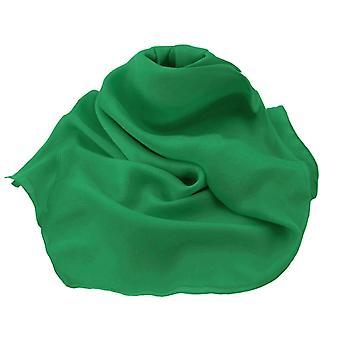 Eternal Collection Plain Emerald Green Oblong Pure Silk Chiffon Scarf
