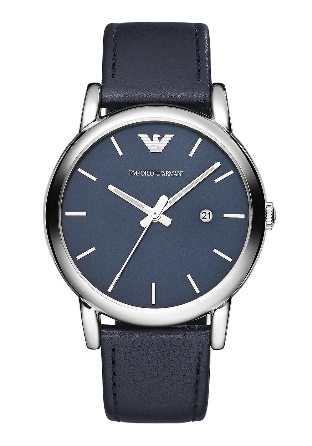 Emporio Armani Ar1731 Classic Blue Dial Black Leather Men's Watch
