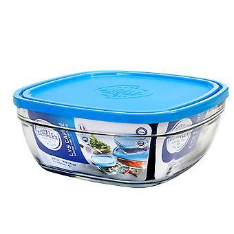 Duralex Freshbox Square Bowl mit blauem Deckel, 23cm