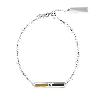 Wake Forest University Sterling Silver Diamond Bar Chain Armband i brunt och svart