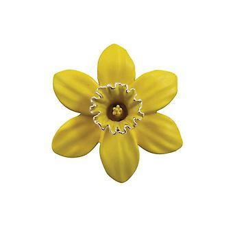 Eeuwige collectie Daffodil met trompet glazuur zilveren Toon Midi broche