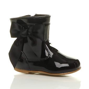 Ajvani baby meisjes zuigelingen lage hak lint boog zip Western Party formele laarzen