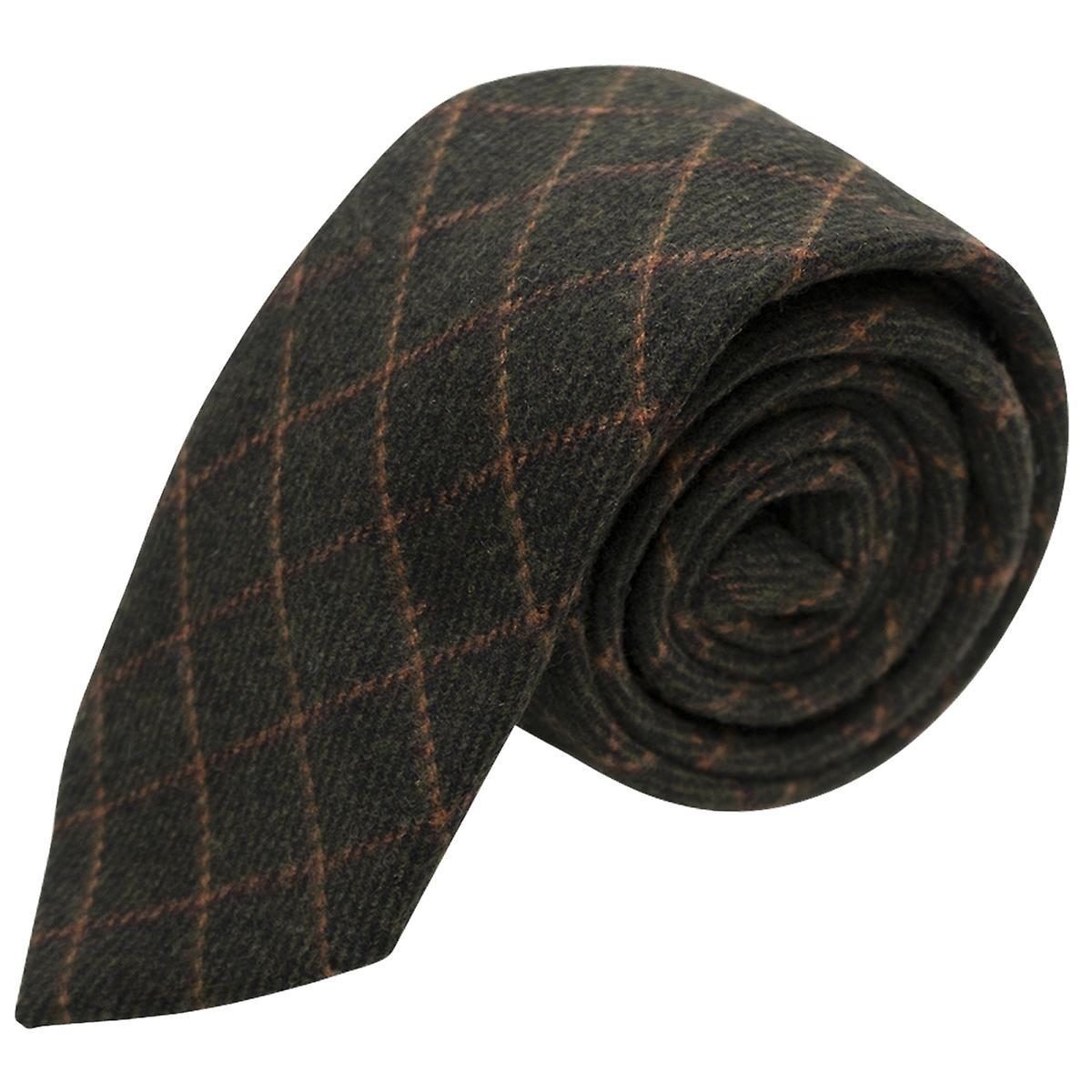 Luxury Leaf Green Tattersall Check Tweed Tie