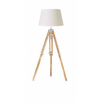 Floor Lamp Bright Nickel Plate, Teak Wood