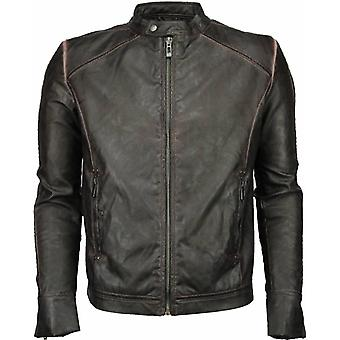 Imitation Leather Jacket - Leather Jacket - Street Wear - BrownBlack