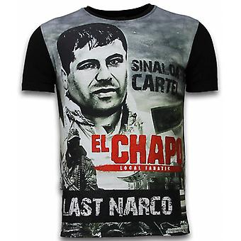 El Chapo Last Narco-Digital Rhinestone T-shirt-Black