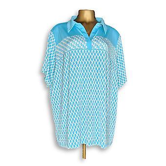 Susan Graver Frauen's Plus Top gedruckt Flüssigkeit stricken Polo Shirt blau A289411