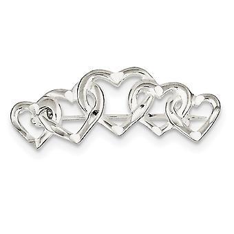 925 Sterling Gümüş Saten Finish Sparkle Cut Beş Love Heart Pin Takı Hediyeler Kadınlar için - 3.9 Gram