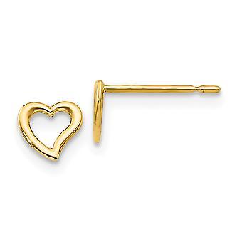 14k Yellow Gold Madi K for boys or girls Love Heart Post Earrings - .2 Grams