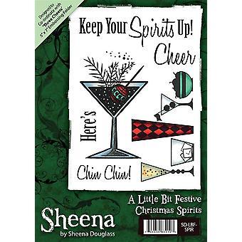 Sheena Douglass A6 Christmas Rubber Stamp Set - Spiritueux de Noel