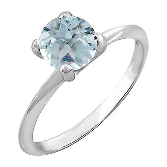 Dazzlingrock Collection Sterling Silver 7 MM Round Cut Aquamarine Ladies Solitaire Bridal Engagement Ring