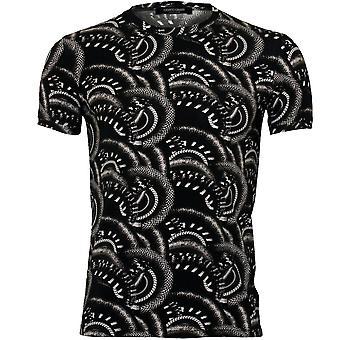 Roberto Cavalli Snakeskin Print Crew-Neck T-Shirt, Noir/Blanc