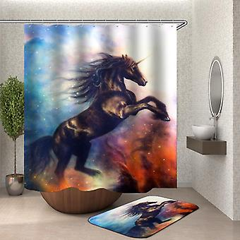 Magical Black Unicorn Shower Curtain