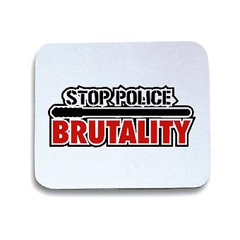 Tappetino mouse pad bianco wtc1443 police brutality t-shirt