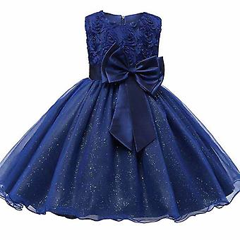 Festive dress with rosette and flowers-blue