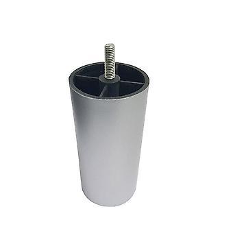 Zilveren plastic ronde meubelpoot 12 cm (M8) (1 stuk)