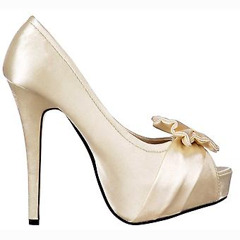 Onlineshoe Peep Toe Bridal Wedding Shoes - Satin Bow - Ivory Satin