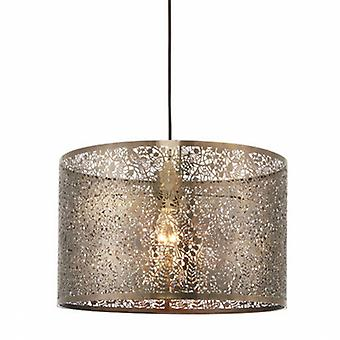 Floral Leaves Cylindrical Ceiling Pendant Light Antique Brass