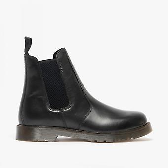 Grafters Ellis Unisex Leather Air Cushion Sole Dealer Boots Black