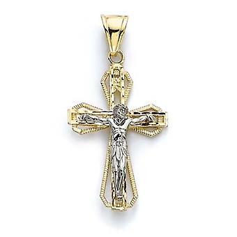 14k Two Tone Gold Grote Dubbele Laag Religieuze Geloof Kruis Hanger Hanger Sieraden Geschenken voor vrouwen