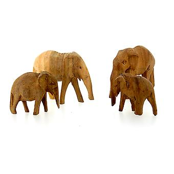 Trä Elephant Figurine Familj - 4 Piece Set