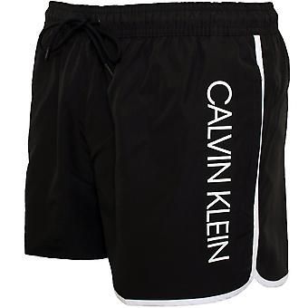 Calvin Klein Side Logo Athletic-Cut Swim Shorts, Black