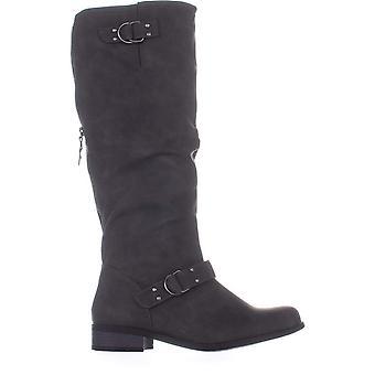 Xoxo Womens Minkler Fabric Closed Toe Mid-Calf Riding Boots