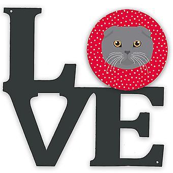 Carolines Skatter CK5158WALV skotsk fold katt kjærlighet metall vegg kunstverk kjærlighet