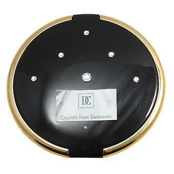 Danielle 8cm Slim Compact with Swarovski Elements 5x Mag Mirror - Black