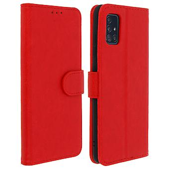 Flip wallet case, magnetic cover with stand for Samsung Galaxy A51 - Red