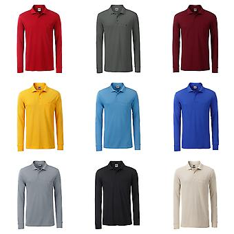 James and Nicholson Mens Workwear Long Sleeve Pocket Polo