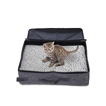 PawHut Cat Collapsible Portable Litter Box Foldable Travel Light Weight - Grey