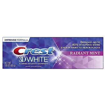 Crest 3D branco fluoreto Anticavity dentífrico, hortelã radiante, 3 oz