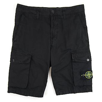 Stone Island L07WA 'OLD' Dye Treatment Bermuda Shorts Black V0129