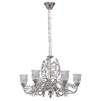 Glasberg - Stříbrný povrch šest světlých lustr s čirým skleněným odstínem 298012106