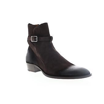 Robert Wayne Leonardo  Mens Brown Suede Zipper Casual Dress Boots