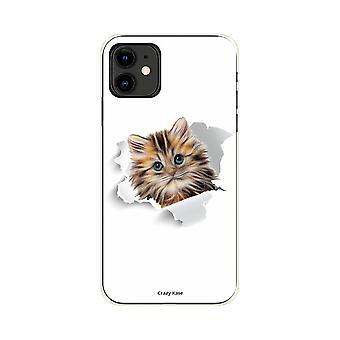 Case voor iPhone 11 flexibele patroon kat te schattig