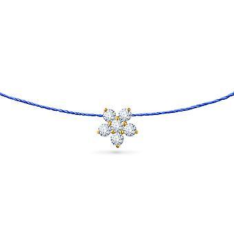 Choker Fairy Flower 18K Goud en Diamanten, op Thread - Geel Goud, RoyalBlue